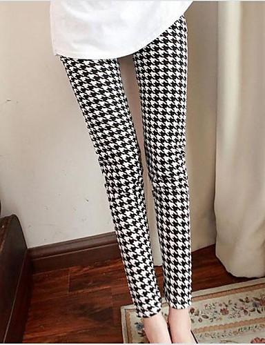 Pentru femei Maternitate Casual Talie medie, Strech Pantaloni Pantaloni Poliester Houndstooth Toate Sezoanele