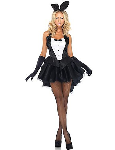 c58fec334 Bunny Girl Dress Cosplay Costume Party Costume Adults' Women's Christmas  Halloween Festival / Holiday Polyester Black Female Carnival Costumes  Patchwork ...