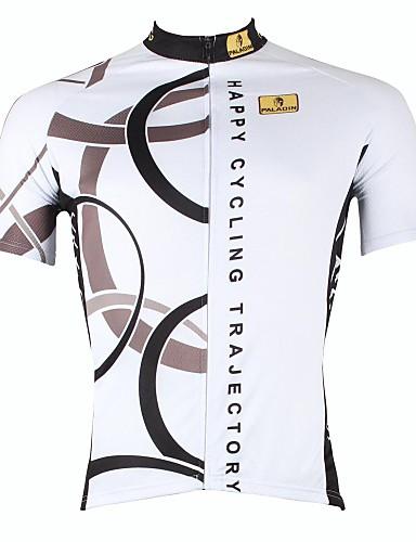 hesapli Bisiklet Formaları-ILPALADINO Erkek Kısa Kollu Bisiklet Forması Beyaz Turuncu Sarı Bisiklet Forma Üstler Nefes Alabilir Hızlı Kuruma Ultravioleye Karşı Dayanıklı Spor Dalları %100 Polyester Dağ Bisikletçiliği Yol