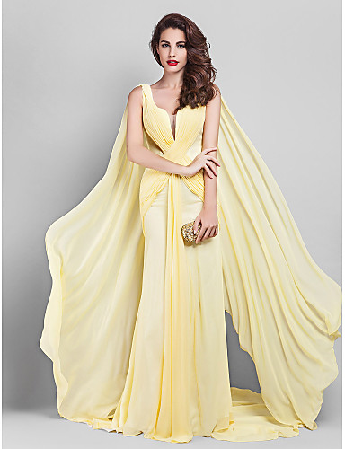 Sheath / Column Plunging Neckline Court Train Georgette Prom / Formal Evening / Company Party Dress with Criss Cross Side Draping by TS