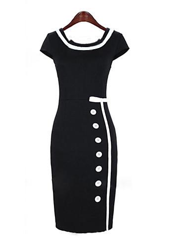 Women's Work Vintage Street chic Slim Sheath Dress - Solid Colored High Rise