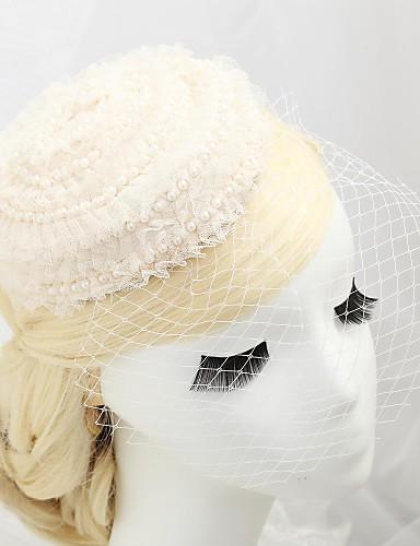 abordables Chapeau & coiffure-Cristal / Imitation de perle / Dentelle Diadèmes / Fascinators / Chapeaux avec 1 Mariage / Occasion spéciale / Fête / Soirée Casque / Molleton / Tissu