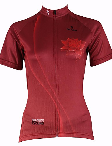 ILPALADINO Women s Short Sleeve Cycling Jersey - Red Floral   Botanical  Plus Size Bike Jersey Top Breathable Quick Dry Ultraviolet Resistant Sports  100% ... f15b2dd50