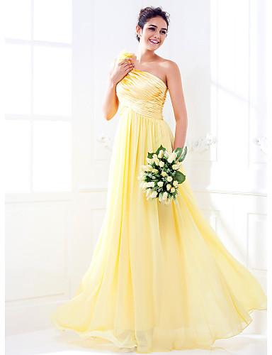 billige Lange brudepikekjoler-A-linje Enskuldret Gulvlang Elastisk sateng / Georgette Brudepikekjole med Sidedrapering / Bølgemønster / Blomst av LAN TING BRIDE®