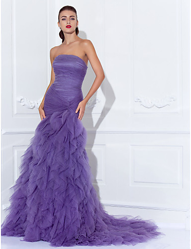 Mermaid Trumpet Strapless Court Train Tulle Vintage Inspired Prom