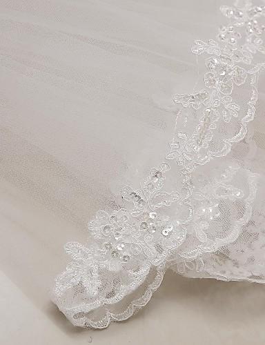 244574e3d Duas Camadas Borda com aplicação de Renda Véus de Noiva Véu Cotovelo com  Apliques 31
