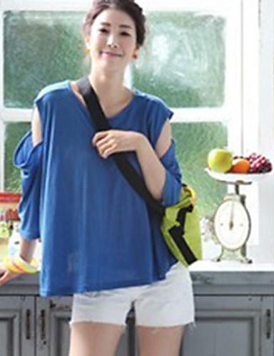 la modă off-umăr tricotat vrac pulover albastru