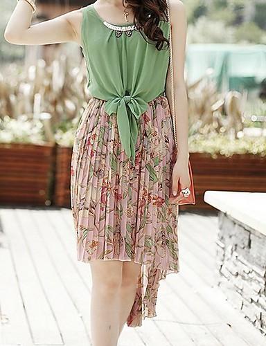 metalice grațios floare impodobita model despicare sifon neregulat rochie verde