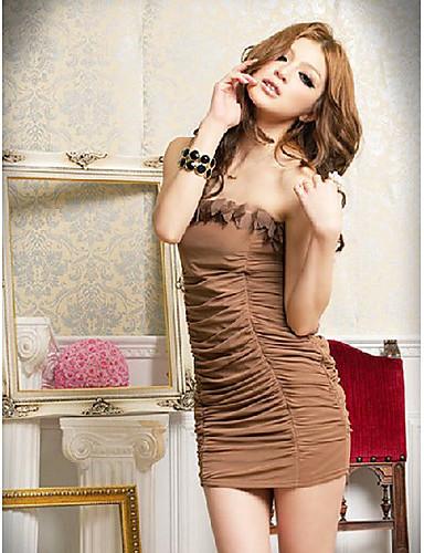 изящной кривой без бретелек плиссированные многослойная предназначена платье кофе