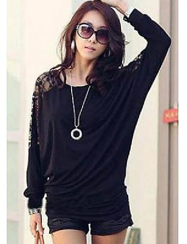 kadın siyah / beyaz bluz, uzun kollu