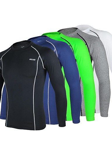 cheap Cycling Clothing-Arsuxeo Men's Long Sleeve Cycling Jersey - Navy Blue Light Grey Light Green Bike Base layer Jersey Compression Clothing Breathable Quick Dry Anatomic Design Sports Winter Polyester Elastane Mountain