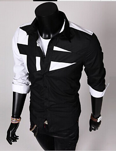 Men's Cotton Slim Shirt - Color Block Black & White, Patchwork Spread Collar / Long Sleeve