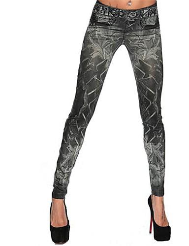 Damen Jeans Legging - Geometrisch Mittlere Taillenlinie