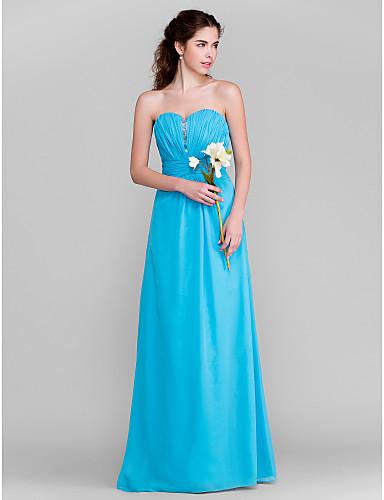 Sheath / Column Sweetheart Floor Length Chiffon Bridesmaid Dress with Beading Draping Ruched by LAN TING BRIDE®