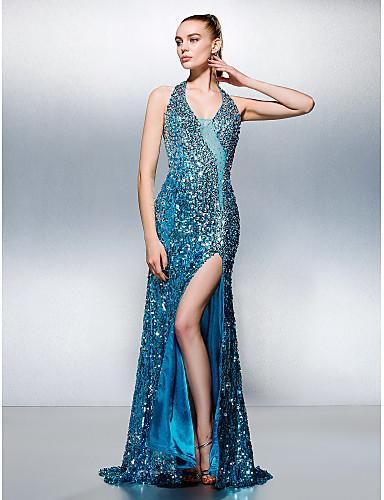 Eng anliegend Halter Hof Schleppe Pailletten Abiball Kleid mit Perlenstickerei durch TS Couture®