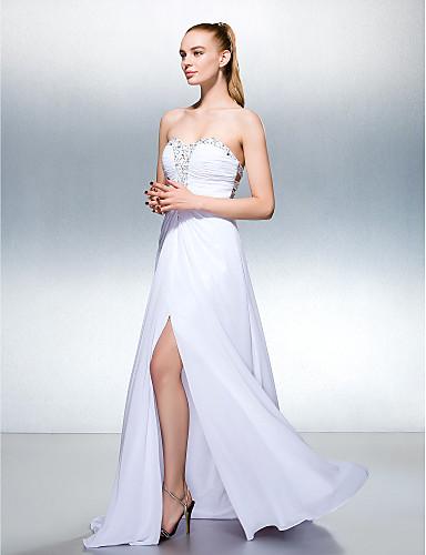 Linia -A In Formă de Inimă Lungime Podea Georget Bal Seară Formală Rochie cu Mărgele Pliuri Eșarfă/Panglică de TS Couture®