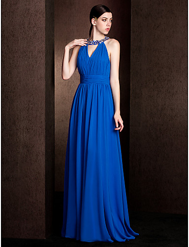 Sheath / Column Jewel Neck Court Train Chiffon Stretch Satin Bridesmaid Dress with Beading Draping Ruched by LAN TING BRIDE®