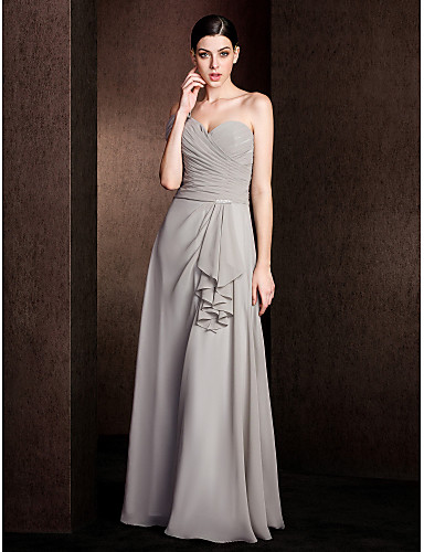 A-Line One Shoulder Floor Length Chiffon Bridesmaid Dress with Criss Cross by LAN TING BRIDE®