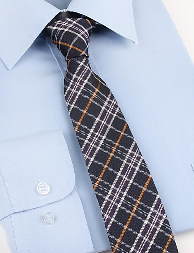 Men's Party Work Basic Polyester Necktie - Plaid