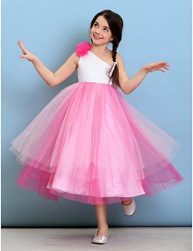 billige Bryllupsfestkjoler-Ballkjole Enskuldret Telang Tyll Junior brudepikekjole med Blomst av LAN TING BRIDE® / Naturlig