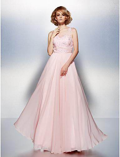 A-Line Illusion Neckline Floor Length Chiffon Prom Dress with Beading Appliques Ruched by TS Couture®