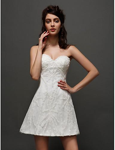 A-linje Kjære Kort / mini Tyll Made-To-Measure Brudekjoler med Appliqué av LAN TING BRIDE® / Små Hvite Kjoler