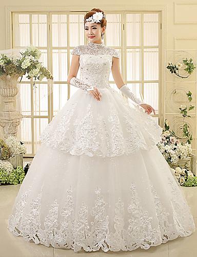 ed5d7fe9d Salón Cuello Alto Hasta el Suelo Encaje Vestidos de novia hechos a medida  con Cuentas