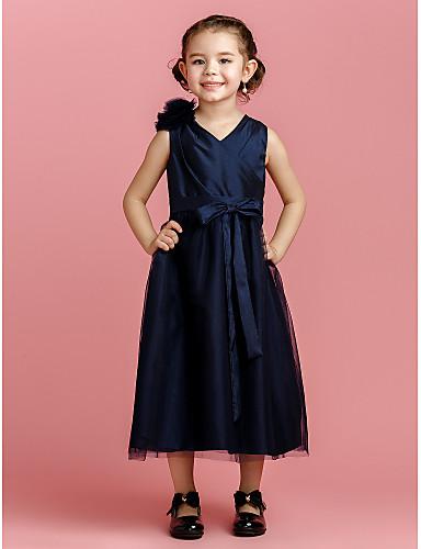 A-line чайное платье из цветной девушки - тафта-тюль без рукавов v-образный вырез с лентой от lan ting bride®