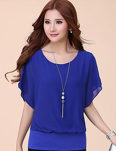 billige Dametopper-Store størrelser T-skjorte Dame - Ensfarget, Drapering Lilla / Sommer