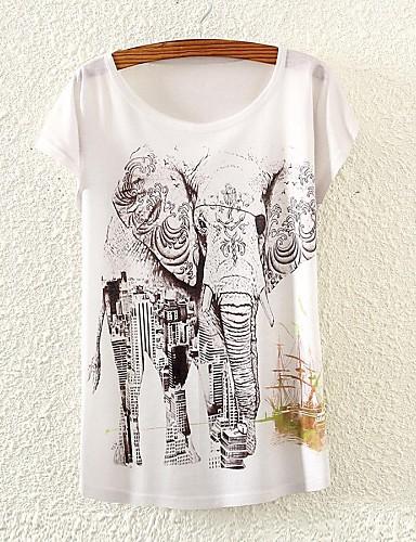 Γυναικεία T-shirt Συνδυασμός Χρωμάτων,Κοντομάνικο Στρογγυλή Λαιμόκοψη Καλοκαίρι Λεπτό Άσπρο