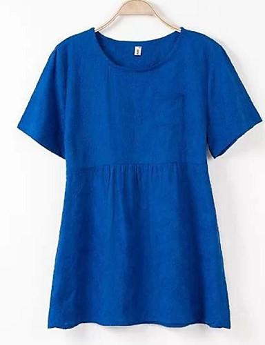Γυναικεία T-shirt Καθημερινά Απλό Μονόχρωμο,Κοντομάνικο Στρογγυλή Λαιμόκοψη Άνοιξη Μεσαίου Πάχους Πολυεστέρας Μπλε / Άσπρο / Μαύρο