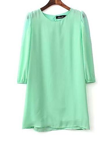 Women's Daily Dress Above Knee Long Sleeve White / Green Spring