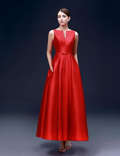 A-Line Bateau Neck Ankle Length Satin Formal Evening Dress with Pockets