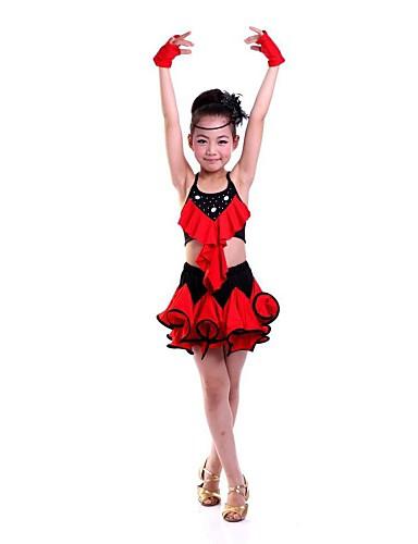9ea425cecb26 Latin Dance Dresses Performance Polyester Flower Sleeveless Natural