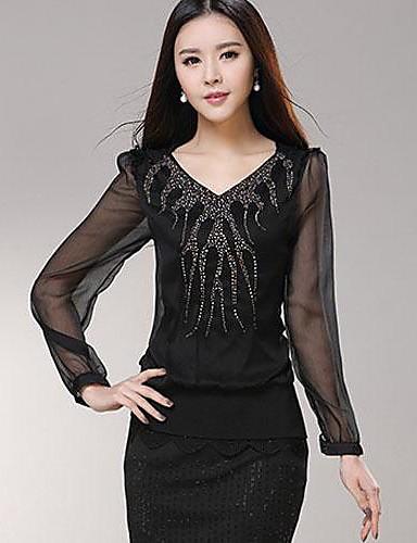 Women's Casual Lace Micro Elastic Long Sleeve Regular Blouse