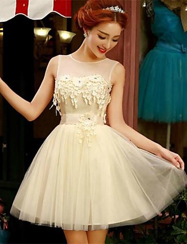 Cocktail Party Dress - Korte A-Line Jewel Short / Mini Tulle Met Appliques