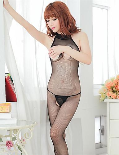 Σούπερ Σέξι Κορμάκι Πυτζάμες Γυναικεία Μονόχρωμο Spandex Mesh Μαύρο