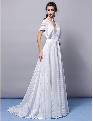 A-Şekilli V-Yaka Süpürge / Fırça Kuyruk Jarse Resmi Akşam Zerafet Galası Elbise ile Kurdeleler Pileler tarafından TS Couture®