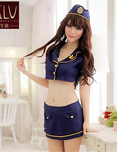 5bf81ad70 ملابس موحدة و صيني بدلات مثير جداً ملابس نوم بوليستر بقع أزرق نساء ...