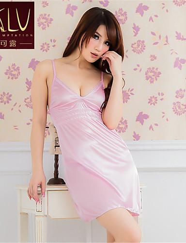 Для женщин Халат Ультра-секси Ночное белье Однотонный Ice Silk (искусственное волокно) Розовый