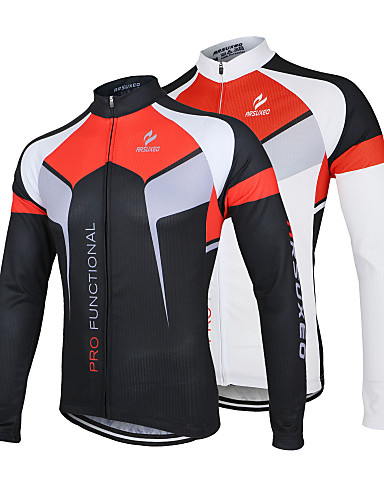 cheap Cycling Jerseys-Arsuxeo Men's Long Sleeve Cycling Jersey - White Black Bike Jacket Jersey Top Breathable Quick Dry Anatomic Design Sports 100% Polyester Mountain Bike MTB Road Bike Cycling Clothing Apparel