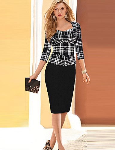 Women's Work Sophisticated Sheath Dress,Plaid Sweetheart Knee-length 3/4 Length Sleeves Cotton Spring High Rise Micro-elastic Thin