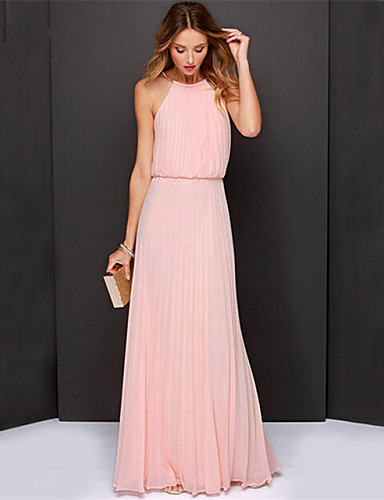 74eccf00651fa Women's Party Beach Sophisticated Maxi Swing Dress - Solid Colored Pleated  Halter Neck Summer Black Pink