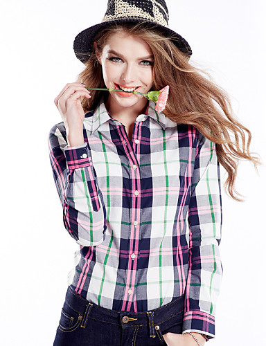 abordables Hauts pour Femme-Chemise Femme, Damier - Coton Bleu clair