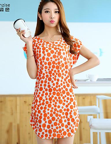abordables Robes Femme-Femme Plage Manche Chauve-souris Au dessus du genou Courte Robe - Imprimé Eté Orange Taille unique Manches Courtes