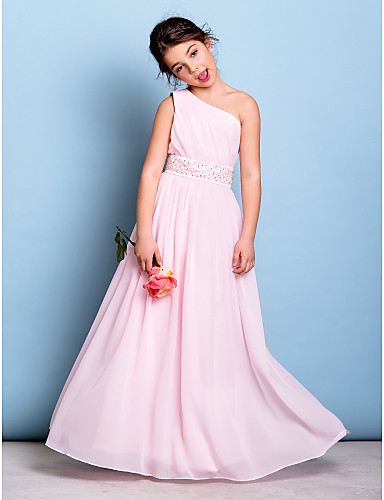 e63611fcec A-Line One Shoulder Floor Length Chiffon Junior Bridesmaid Dress with  Beading   Sash   Ribbon   Side Draping by LAN TING BRIDE®   Natural