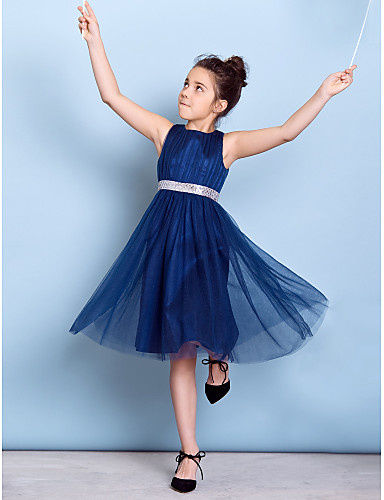 A-Line Jewel Neck Knee Length Tulle Junior Bridesmaid Dress with Sequin Draping Sash / Ribbon by LAN TING BRIDE®