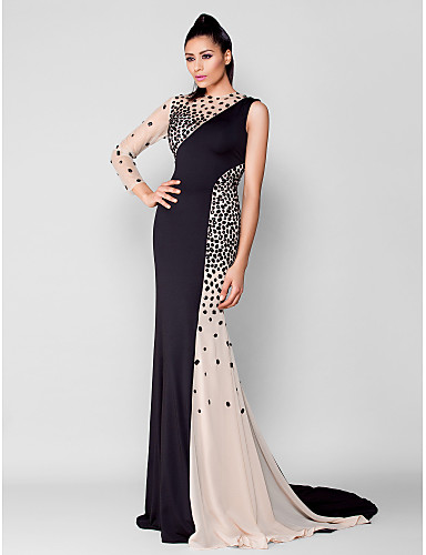 Mermaid / Trumpet Jewel Neck Court Train Chiffon / Jersey See Through Cocktail Party / Formal Evening Dress with Crystals by TS Couture® / Illusion Sleeve