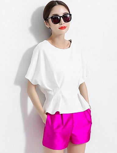 Для женщин На каждый день Лето Блуза Круглый вырез,Простое Однотонный С короткими рукавамиСредняя