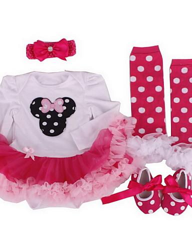 Μωρό Κοριτσίστικα Φόρεμα Βαμβάκι Όλες οι εποχές Μακρυμάνικο Κουκκίδα Φιόγκος Βυσσινί Κόκκινο Ροζ